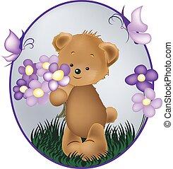 teddy bears with purple flower