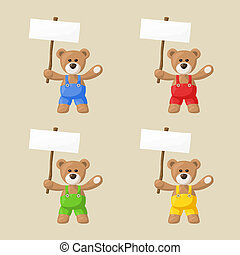 Teddy Bears with White Signboards