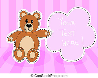 Teddy bearwith blank sign in pink room