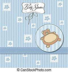 teddy beer, baby, kaart, douche