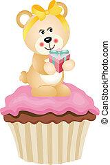 teddy beer, cupcake