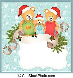 teddy beer, kaart, kerstmis, gezin