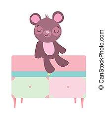 teddy beer, onderbroek, schattig, zittende , meubel
