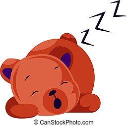 teddy beer, slapende, vector, illustratie, achtergrond, wit rood