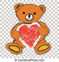 teddy beer, -, vasthouden, liefde, vorm