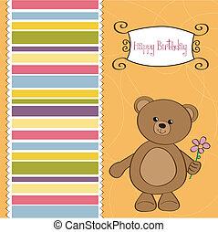 teddy beer, vrolijke , kaart, jarig