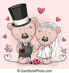 Teddy Bride and Teddy groom on a pink background - Greeting...