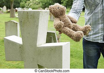 teddy, cimetière, placer, père, ours, enfant, tombe