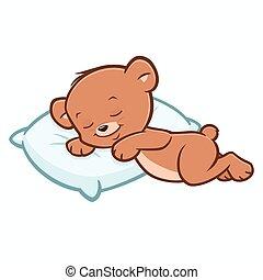 teddy, dessin animé, ours, dormir