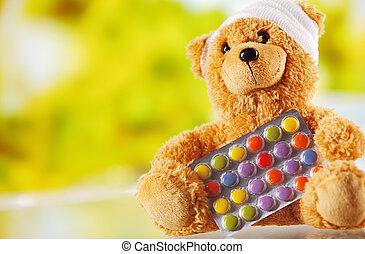 teddy, envueltas, oso, hojuela, vendado, píldoras