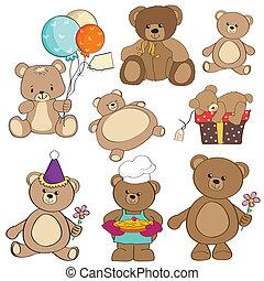 teddy, genstænder, forskellige, sæt, bjørne