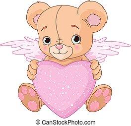 teddy, hjärta, björn