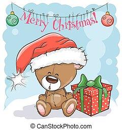 teddy, hoedje, beer, kerstman