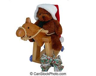 Teddy, Hooby Horse n bow - Santa Teddy riding his hobby...