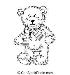 teddy, illustratie, vector, beer, scarf., tekening