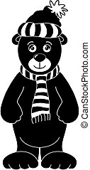 Teddy in cap and scarf, silhouette - Teddy bear in cap and...