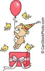 teddy, jarig, vrolijke , cadeau, vogels, beer