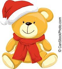 teddy, kerstmis, illustratie, beer