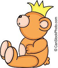 teddy, kroon, beer, gele, zittende