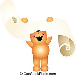 teddy, liste souhait, ours, rire, parchemin