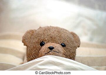 teddy-mackó, őt jár, fordíts, ágy