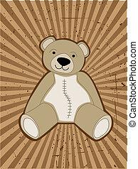 teddy-mackó, ellen, hord, fénysugár, accented, grungy, gerenda