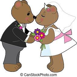 teddy-mackó, esküvő