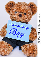 teddy, meldingsbord, vasthouden, beer, blauwe , baby jongen, gezegde, het is