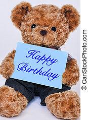 teddy, meldingsbord, vasthouden, beer, blauwe , gelukkige verjaardag, gezegde
