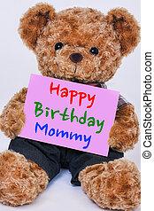 teddy, meldingsbord, vasthouden, beer, gelukkige verjaardag, gezegde, roze, mama