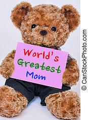 teddy, meldingsbord, vasthouden, beer, wereld, mamma, gezegde, geweldig, roze