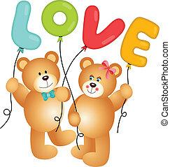 teddy, paar, beer, schattig