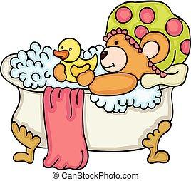 teddy, prendre, ours, bain, douche, canard