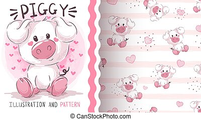 Teddy pretty pig - seamless pattern