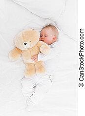 teddy, quoique, ours, bébé, tenue, dormir