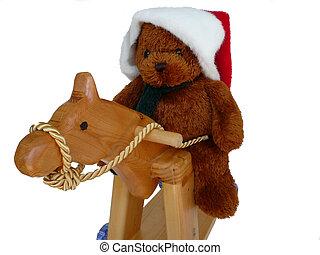 Teddy Ridding Horse - Santa Teddy Bear riding a hobby horse