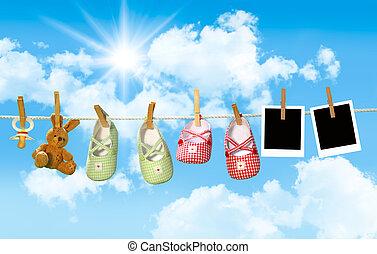 teddy, scarpe, clothesline, orso, pacifier, bambino