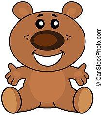 Teddy sitting smiling
