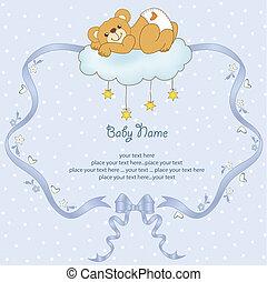 teddy, soñoliento, oso, ducha, bebé, tarjeta