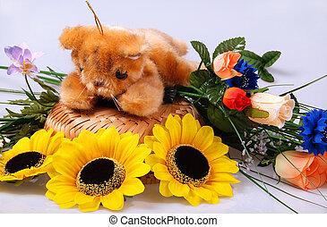 Teddy still-life - Teddy bear still life - toy is surrounded...