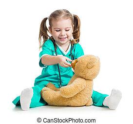 teddy, sur, docteur, ours, enfant, blanc, adorable, vêtements