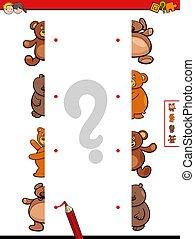 teddy tart, felez, játék, karikatúra, gyufa