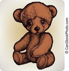 teddy, tekening, illustration..eps, hand, vector, beer
