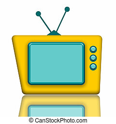 Teddy TV - Funny yellow teddy TV with blank screen ...
