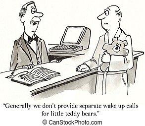 teddy, uppe, björn, dörrvakt, vakna, vilja, inte