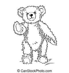 teddy, vector, bear., illustratie, tekening
