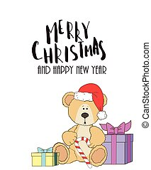 teddy with christmas hat and gift box and handwritten ...