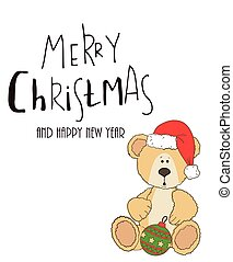 teddy with christmas hat and gift box - teddy with christmas...