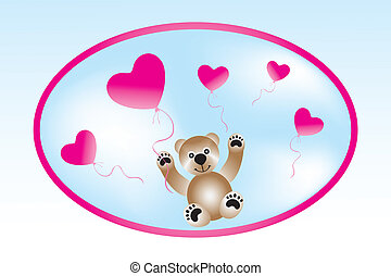 Teddy with heart-balloons