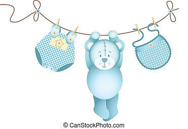 teddybär, baby- junge, hängender